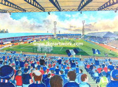 Hand Painted original of dens park on matchday